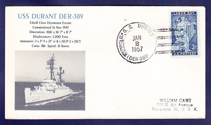 USS DURANT DER-389 1957 Naval Cover MHcachets ONLY 1 MADE