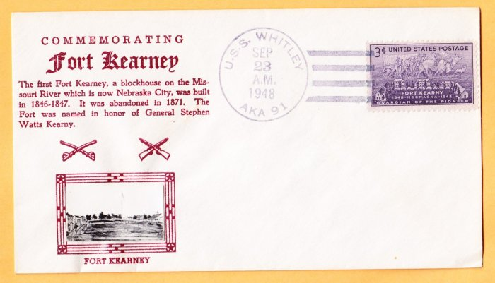 USS WHITLEY AKA-91 Crosby Type Photo Cachet 1948 Naval cover