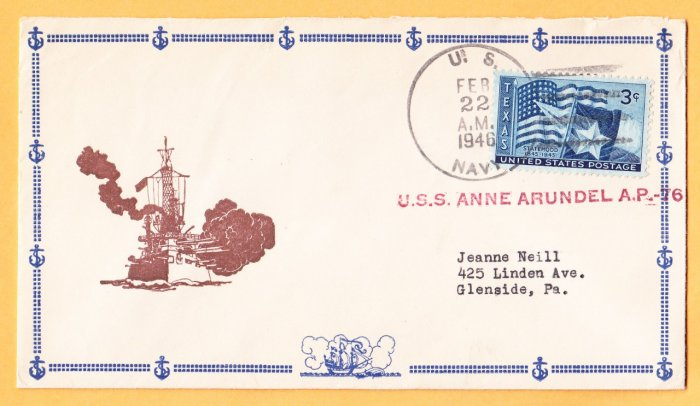 USS ANNE ARUNDEL AP-76 1946 Naval Cover