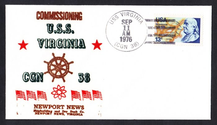 USS VIRGINIA CGN-38 Commissioining Cruiser Naval Cover