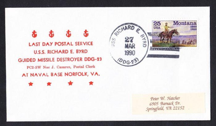 USS RICHARD E. BYRD DDG-23 Last Day Postal Service Naval Cover
