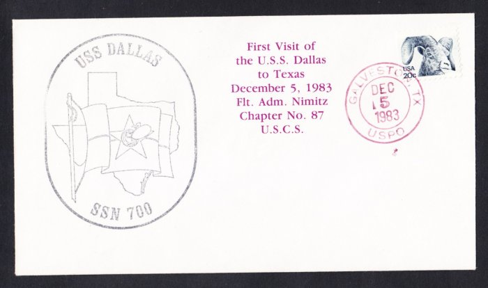 USS DALLAS SSN-700 First Visit To Texas Naval Submarine Cover