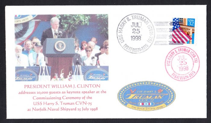 USS TRUMAN CVN-75 Commissioning President Bill Clinton Naval Cover MHcachets ONLY 3 MADE