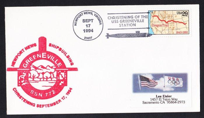 USS GREENEVILLE SSN-772 Christening Naval Submarine Cover