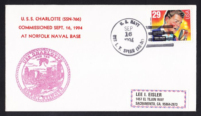 USS CHARLOTTE SSN-766 Commissioning Naval Submarine Cover
