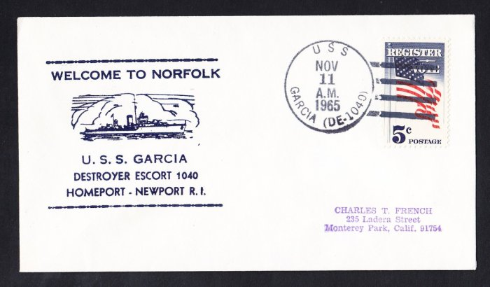 USS GARCIA DE-1040 Welcome To Norfolk Naval Cover