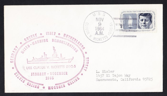 USS CLAUDE V. RICKETTS DDG-5 World Cruise 1964 Naval Cover