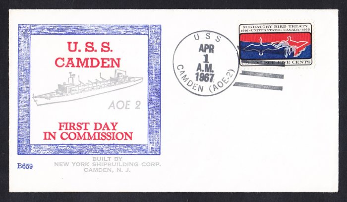 Replenishment Ship USS CAMDEN AOE-2 Commissioning BECK #B659 Naval Cover