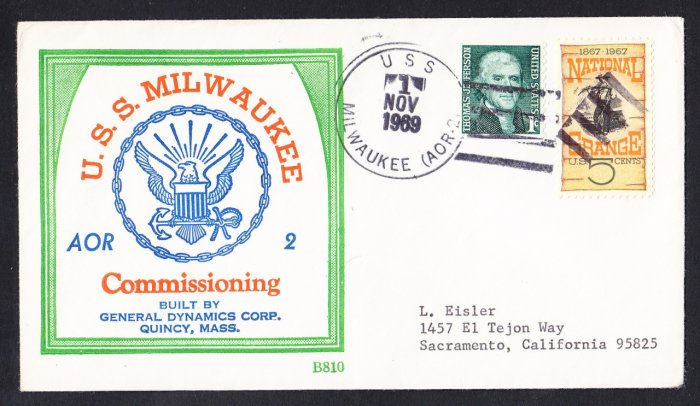 Replenishment Ship USS MILWAUKEE AOR-2 Commissioning BECK #B810 Naval Cover