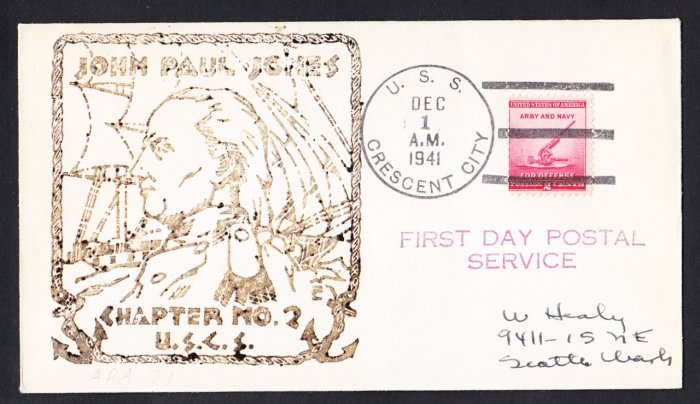 USS CRESCENT CITY AP-40 FDPS 1941 Naval Cover