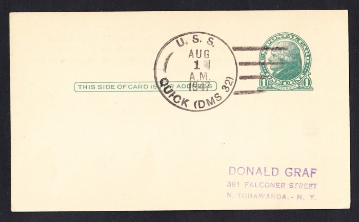 USS QUICK DMS-32 1947 Naval Cover