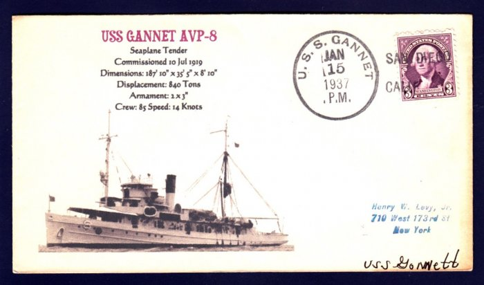 USS GANNET AVP-8 1937 Naval Cover MHcachets ONLY 1 MADE