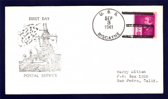 USS BISCAYNE AVP-11 FPDS 1941 Naval Cover
