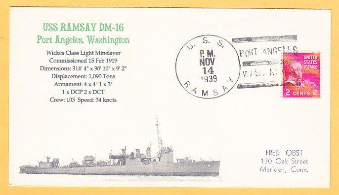 USS RAMSAY DM-16 1939 Naval Cover