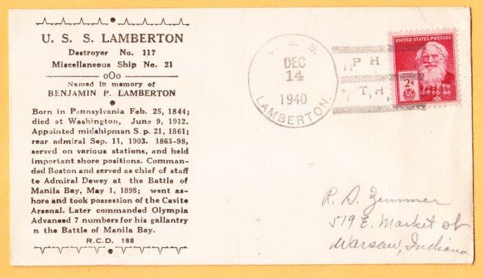 USS LAMBERTON DMS-2 Pearl Harbor 1940 Naval Cover