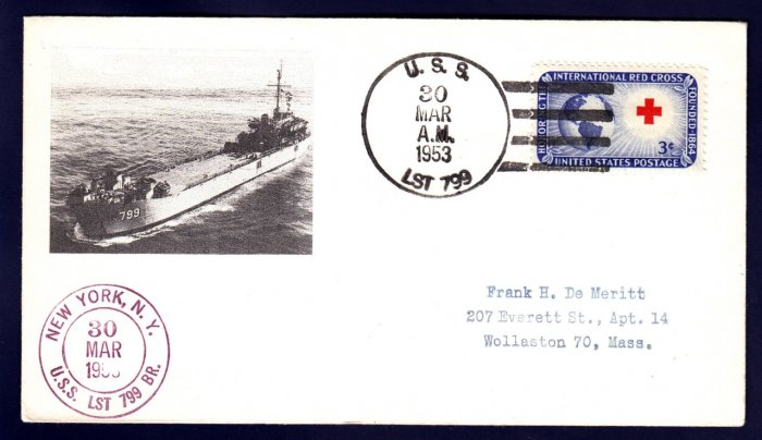 USS LST-799 Naval Cover MHcachets ONLY 1 MADE