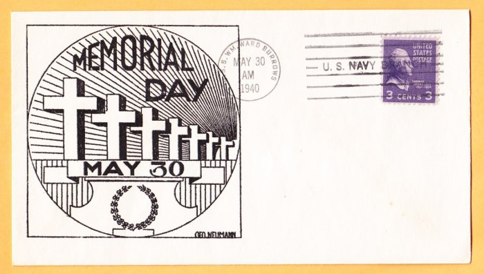 USS BURROWS AP-6 Fancy Cancel 1940 Naval Cover