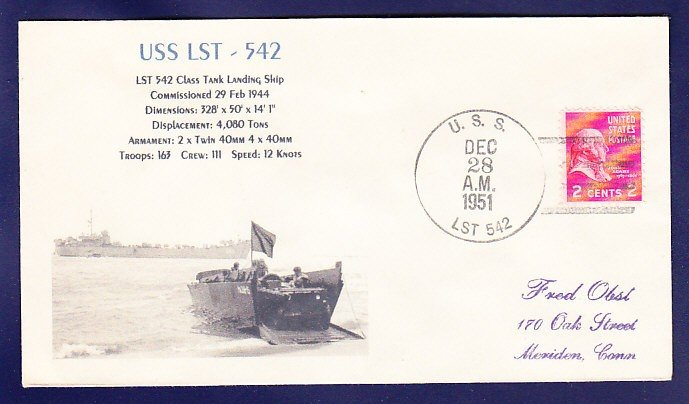 USS LST-542 1951 Naval Cover MHcachets ONLY 1 MADE