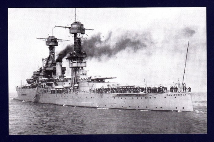 USS CALIFORNIA BB-44 Battleship Navy Ship Postcard