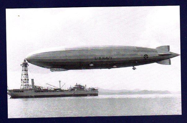 USS PATOKA AO-9 & Airship USS SHENANDOAH ZR-3 Navy Ship Postcard