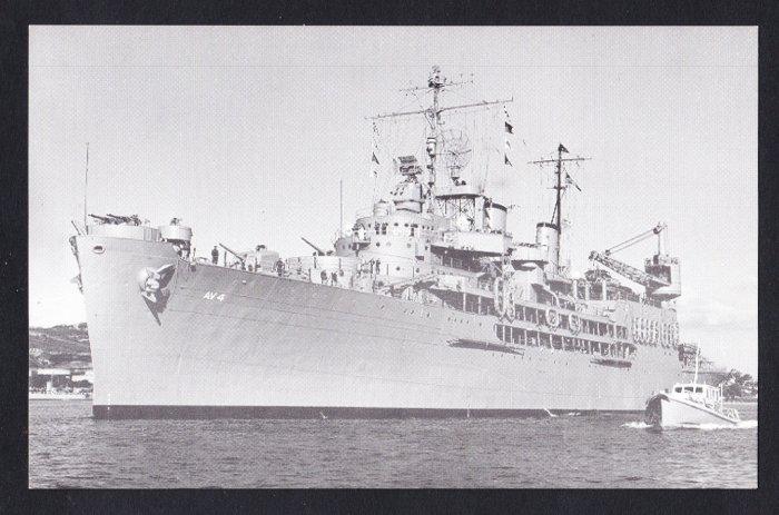 USS CURTISS AV-4 Seaplane Tender Navy Ship Postcard