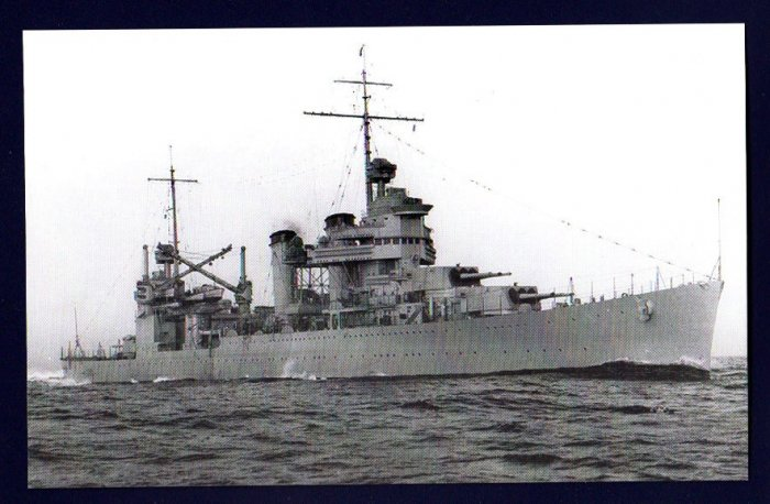 USS VINCENNES CA-44 Cruiser Navy Ship Postcard