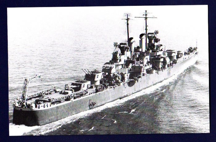 USS BIRMINGHAM CL-62 Cruiser Navy Ship Postcard