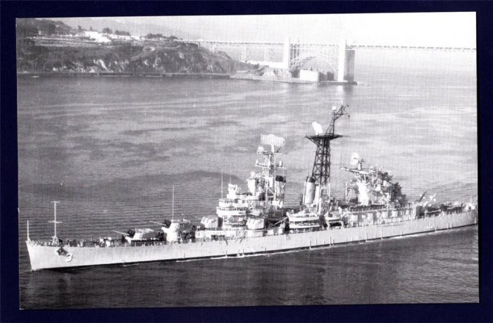 USS GALVESTON CLG-3 Guided Missile Cruiser Navy Ship Postcard