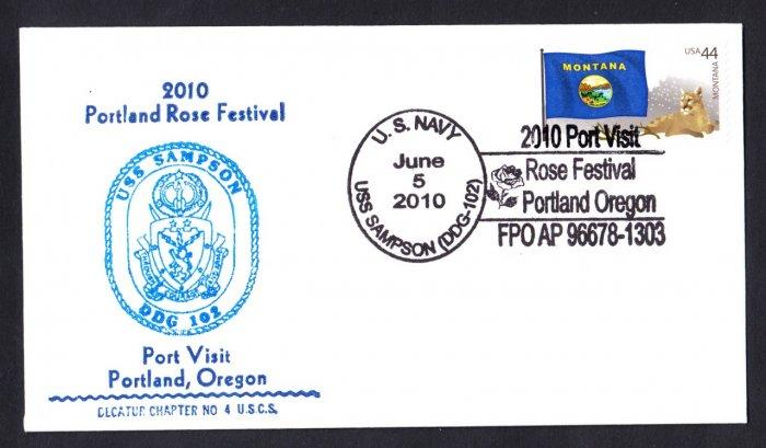 USS SAMPSON DDG-102 Portland Rose Festival Naval Cover