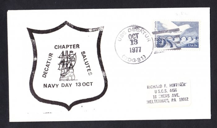 USS DECATUR DDG-31 Navy Day Naval Cover