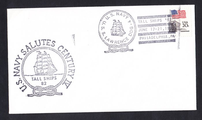 USS LAWRENCE DDG04 Tall Ships Philadelphia Naval cover