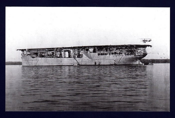 USS LANGLEY CV-1 Aircarft Carrier Navy Ship Postcard