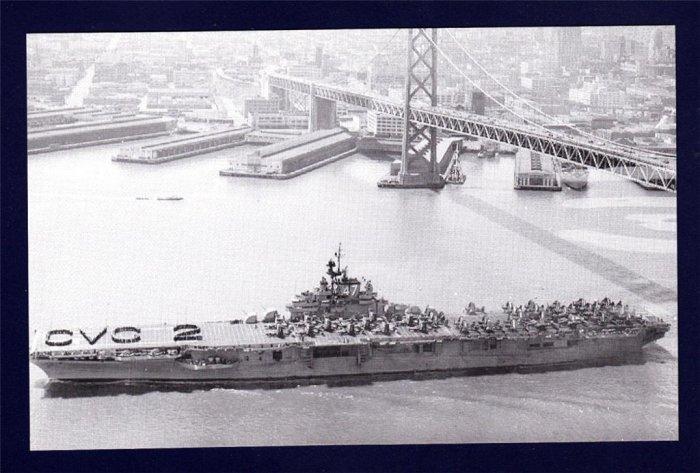 USS PHILIPPINE SEA CVA-47 Aircraft Carrier Navy Ship Postcard