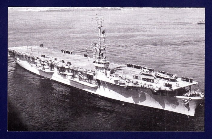 USS RENDOVA CVE-114 Escort Carrier Navy Ship Postcard
