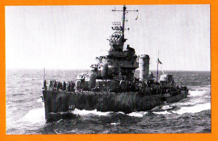 USS AARON WARD DD-483 Destroyer Navy Ship Postcard