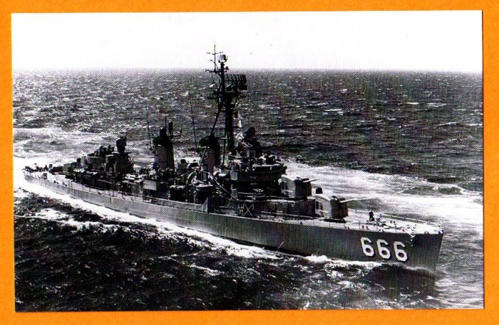 USS BLACK DD-666 Destroyer Navy Ship Postcard