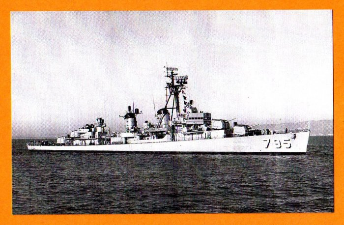 USS PRESTON DD-795 Destroyer Navy Ship Postcard