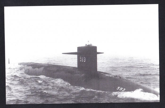 USS THRESHER SSN-593 Submarine Navy Ship Postcard