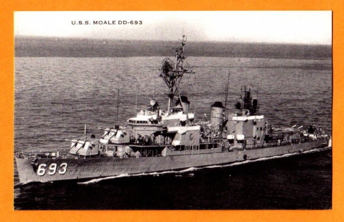 uSS MOALE DD-693 Destroyer Navy Ship Postcard