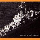 USS LLOYD THOMAS DD-764 Destroyer Navy Ship Postcard