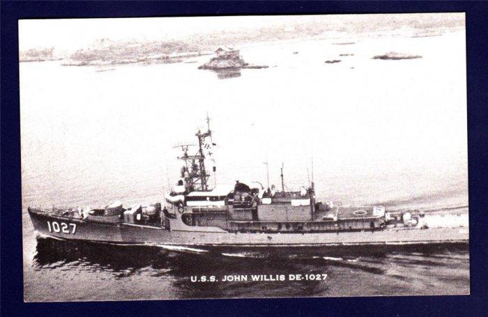 USS JOHN WILLIS DE-1027 Destroyer Escort Navy Ship Postcard