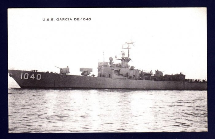 USS GARCIA DE-1040 Destroyer Escort Navy Ship Postcard