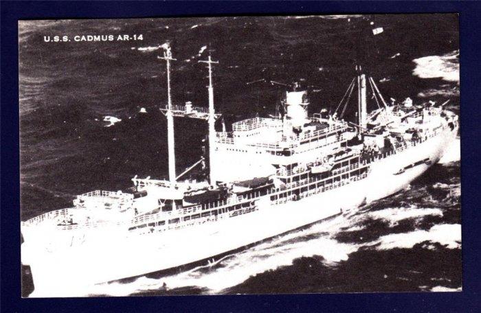USS CADMUS AR-14 Repair Ship Navy Ship Postcard