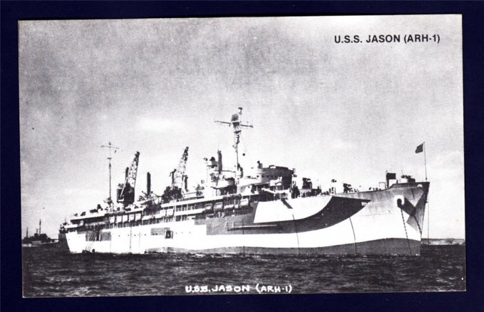 USS JASON ARH-1 Repair Ship Navy Ship Postcard