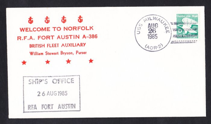 RFA FORT AUSTIN A-386 Visit To Norfolk Royal Navy Ship Cover