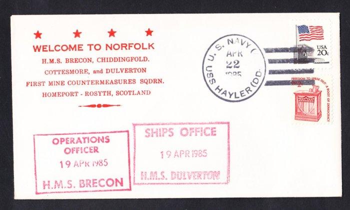 HMS BRECON M-29 & HMS DULVERTON M-35 Visit To Norfolk Royal Naval Ship Cover