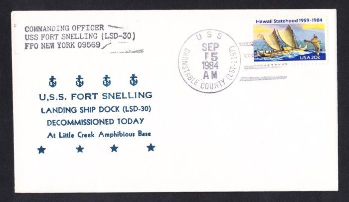 USS FORT SNELLING LSD-30 Decommissioning Naval cover