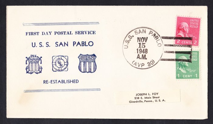 USS SAN PABLO AVP-30 FDPS 1948 Naval Cover