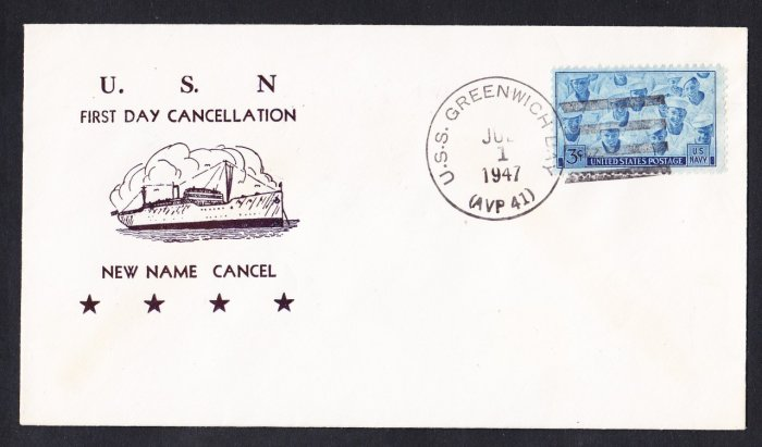USS GREENWICH BAY AVP-41 1st Day New Name Cancel 1947 Naval Cover
