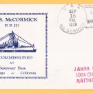 USS McCORMICK DD-223 Decommissioning 1938 Naval Cover
